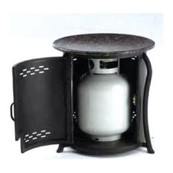 Outdoor Greatroom - Propane Tank Cover End Table - The cleverly designed Propane Tank Cover End Table offers an ingenious solution to the problem of ugly but necessary Propane gas tanks.  This stylish, ventilated enclosure effectively conceals any standard sized Propane tank from view while providing useful table space. * Elegant side table conceals your gas tank