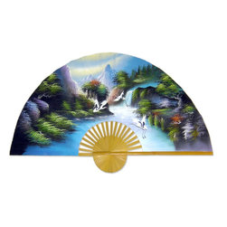 "Oriental-Decor - Fantasy Valley, 40"" Width Chinese Wall Fan - This amazing fan depicts a valley deep in the heart of China that is known for its magic and beauty. Bring a touch of Asia to your home or office with this exquisite fan."