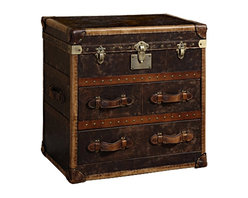 Curations Limited - Curations Vintage Leather Trunk Chest in Aged 6810.0010 - Stylish accent piece upholstered in vintage genuine leather. Decorated by aged patina, canvas-lined drawers, leather-bound corner brackets, and wood slats with an aged finish. Piece offers two drawers for storage and cast-metal antiqued hardware.