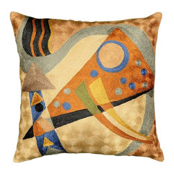"Modern Silk - Kandinsky Pillow Cover Silk Composition Hand Embroidered 18"" x 18"" - The colors in this abstract composition, reminiscent of the work of influential Russian artist, Wassily Kandinsky, evoke a psychic vibration, hiding a power still unknown but deeply felt in every part of the body. The expert Kashmiri needlework in this handmade, hand worked cover is of the finest chainstitch crewel, a superlative stitch. The eye-catching design deserves to be seen and experienced. Wherever you place it, it is sure to draw attention. The Kashmir wool thread makes it soft to the touch, and the texture of the embroidery is a sensory delight. Durable and easily cared for, this cover has a back button opening for easy accessibility. This cushion cover is available on this site in other color schemes.Insert can be bought from any fabric store locally. This pillow cover takes 18', 19' and 20' square pillow inserts."