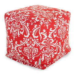 Majestic Home - Indoor Red and White French Quarter Small Cube - If you think a beanbag is a relic from the '70s, think again. It's been re-envisioned for your favorite modern setting as a cube, so versatile you can use it as a seat, footstool or side table.