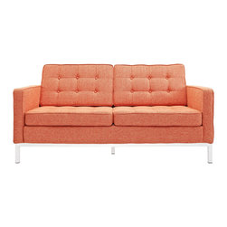 IFN Modern - Florence Knoll Style Loveseat-Orange Tweed - Florence Knoll, an acclaimed architect and designer, first conceived this beautiful chair in 1956. Knoll's philosophy for furniture design comes from the value that she placed on practicality and aesthetic beauty. The pieces resulting from her philosophical vision are considered to be minimalistically beautiful without compromising on durability and comfort. Knoll was also known to study and collobarate with renowned architect and designer Mies Van Der Rohe, this collaboration also lended a hand in her highly sought after artistic vision. The classic trio was designed by Knoll using a durable stainless steel frame with minimal materials. The chair features beautiful cubic cushions complimented with compressed buttons in a functional layout which provides both style and comfort to the thin, minimalist supporting arms. The Knoll Sofa, Loveseat, and Chair are becoming more and more highly desired as their minimal yet practical design can adapt perfectly into today's modern home or space.â— Orange Tweedâ— Fully upholstered Fabricâ— High Polished Solid Stainless Steel base frame ensures no chipping or rustingâ— Piping and Buttons covered in Leather grade of your choiceâ— Traditional hardwood box frame constructionâ— Reinforced bottom seat cushion platform for firm long lasting comfortâ— Corner Stainless Steel base joints are fully welded, grind, sealed and sandedâ— Multi density foam seat and back cushions wrapped in silk layer provide comfort and cushion structure memoryâ— Cushions CA-117 fire retardant compliantâ— Remove-able back and seat cushions feature rear zippersâ— Complete with floor protection pad caps on legs
