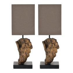 Safavieh - Uragon Root Mini Table Lamp (Set Of 2) LIT5019 - Natural, Brown Shade - Inspired by the sumptuous curves of Art Nouveau, the Patrizia Urn Lamp with Bavarian bell shade makes a bold statement without shouting. Crafted with gold painted poly resin, its gold and beige shade gently illuminates the room. (Sold in a set of 2)