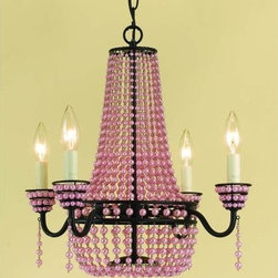 "AF Lighting - AF Lighting 7002-4H Elements Series ""Parlor"" Four-Light Mini Chandelier with Pin - AF Lighting 7002-4H Elements Series ""Parlor"" Four-Light Mini Chandelier with Pink Faux Beads and Swag Kit, Finished in Oil Rubbed BronzeAF Lighting 7002-4H Features:"