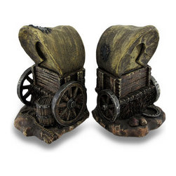Zeckos - Highly Detailed Old West Covered Wagon Bookends Set of 2 - This set of Old West style covered wagon bookends features incredible detail, from the homespun texture on the wagon canopy to the tall grasses underneath the wheels. Each bookend measures 6 3/4 inches tall, 4 inches long and 4 1/2 inches deep. Made of cold cast resin, they are hand-painted to show off the detail. They make a great gift.