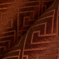 Matelasse Greek Key Upholstery in Rust - Matelasse Greek Key 100% Silk Upholstery Fabric in Rust Brown. Geometric Print ideal for reupholstering sofa, chairs, and other furniture, or accent pillows.