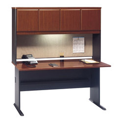 "Bush - Bush Series A 60"" Wood Credenza Desk with Hutch in Hansen Cherry - Bush - Computer Desks - WC90460APKG4"