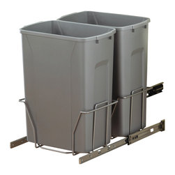 """KV Kitchen & Bath Storage - Slide-Out Waste & Recycling Bin/Non-Lidded in Frosted Nickel - Slide-Out Waste . Recycling Center/Non-Lidded.  2 - 35 qt. Bins.  Fits 15"""" (38. 1cm) min. wide opening.  Plastic Component Finish-Platinum.  Metal Component Finish-Frosted Nickel"""