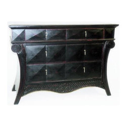 Wayborn - Paris Chest (Antique Black) - Color: Antique BlackArt Deco-inspired Paris accent chest is sure to get lots of attention wherever you place it.  Handsome antique black finish chest features roomy storage drawers with geometric pattern fronts and understated jewelry style pulls for a real sophisticated look. Made from Basswood. Worn with Red undercoat. Pictured in Antique Black. Antique smooth finish. 50 in. W x 20 in. D x 36 in. H (99 lbs.)