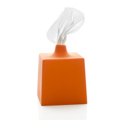 Kontextur - Tissue Box Cover, Dutch Orange - The Kontextur Tissue Box Cover is an understated yet potent antidote to the potpourri of ubiquitous kitsch and oft-smudged metallic ones dominating the category. This thoughtful new design redirects the tissue box from its typical role, hidden away from view, and celebrates its function by turning it into an objet d'art. The iconic factory silhouette with its smokestack-like extension at the top serving as the opening for the tissues creates a strong visual interplay between the shapes, colors and materials. What's more, the tissues dispense like a dream.      According to Owens when asked about his approach to design  To quote one of my favorite musicians, Michael Franti: I am deadly serious about us having fun. And my concept for the Tissue Box Cover is an exact expression of that sentiment.  The visual and tactile softness of the form combine with the material in a way that suggests a gentle object. While the bold colors make it pop.