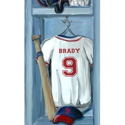 """Sports Locker Bedroom - Jones Seggara's """"Baseball Locker"""" is 12x36 and comes with or without personalization. Non-personalized version says """"Varsity"""" and number """"01""""."""