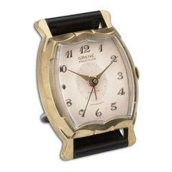 Black Leather Wristwatch Square Table Alarm Clock - *Brass rim with leather stand.