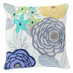 """Surya - Surya BTC-004 Pillow, 22"""" x 22"""", Down Feather Filler - Embodying the dazzling color palette and divine beauty of flowers in spring this perfect pillow will fashion a flawless addition to your space. Hand made in India in 100% cotton, the striking floral images placed pristinely across this exquisite piece radiates an incomparably delicate decadence from room to room within any home decor."""