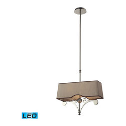 ELK Lighting - ELK Lighting 31254/2-LED Linear 2-Light Island Lights in Polished Nickel - These linear pendants offer a great alternative to a standard mini pendant and can accentuate a kitchen island or spaces that benefit from a slim design, robust decorative style, and rich finishes. The fabric shade of each fixture is custom designed to complement the metalwork creating a unique and free-flowing lighting experience. - LED, 800 lumens (1600 lumens total) with full scale dimming range, 60 watt (120 watt total)equivalent , 120v replaceable LED bulb included