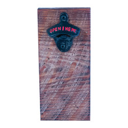 Handcrafted - Rare Earth Magnetic Bottle Opener - These bottle openers are handcrafted of 100+ year old barn wood. When you open your beverage, the rare earth magnet holds the bottle top! These bottle openers come in all shapes and sizes - no two are identical! The barn wood has been sealed with Thompson's water seal for outdoor use. Children should not be allowed to handle magnets. For adult use only.