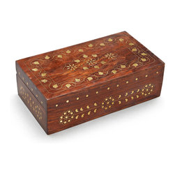 "Leaves of Gold Decorative Box - A brass inlaid floral and leaf design adds richness to this well-crafted jewelry box made of Sustainable Sheesham Wood , an exotic, chestnut-colored hardwood grown on sustainable farms in India. Ites just the right size for storing a few of your favorite accessories.  e Approx. Size: 9"" L x 5"" W x 2.8"" H"