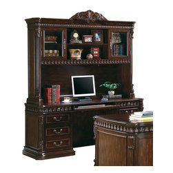Coaster - Coaster Tucker Computer Desk and Hutch in Rich Brown - The Tucker home office collection features a large scale and elegant traditional style for a grand look in your room. With sturdy wood construction, in a warm Rich Brown finish, these pieces are sure to complement your decor. Felt lined top drawers, computer keyboard drawers, built in power strips and lighting, and wire management holes all add to the great function of each of these home office pieces. Intricate details including classic molding, acanthus leaf carved trim, and fluted columns create a sophisticated traditional style, for the perfect blend of beauty and modern functionality in your home office. The double pedestal computer desk and hutch is made of durable wood and veneers in a warm Rich Brown finish that will complement your home office decor beautifully. The desk offers a comfortable computer work space which includes ball bearing glides on drawers, a power strip for electrical supply, and a drop front keyboard drawer. A left pedestal has three spacious storage drawers, while the right side pedestal features a pencil drawer above a computer tower storage door. The large hutch above offers intricately detailed design elements, with a carved acanthus leaf crown detail, classic molding and acanthus leaf trim, and beautiful fluted columns. A glass door on each end has two shelves inside for storage and display, with two spacious shelves in the center that are ideal for books and favorite decorative items. Add this rich computer desk and hutch to your home office for a functional and stylish space the you will truly love.