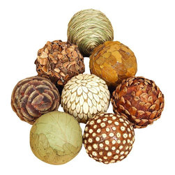 Benzara - Natural Ball Set of Eight Bamboo Wood Balls - Set of 8 - If you are looking for low cost but rare to find elsewhere decor item to bring extra galore that could refresh the decor appeal of short spaces on tables or shelves, beautiful 42951 NATURAL BALL S/8 may be a good choice.