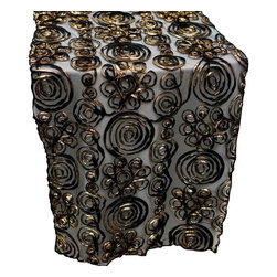 Table Runner - Satin Ribbon Roses on Lace, Black and Gold - Celebrate your special day with your reception accented with these beautiful satin ribbon roses on tulle table runners.