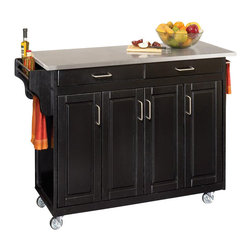 Home Styles - Home Styles Create-a-Cart 49 Inch Stainless Top Kitchen Cart in Black - Home Styles - Kitchen Carts - 92001042 - Home Styles Create-a-Cart Kitchen Cart in a Black finish with a stainless steel top features solid wood construction four cabinet doors open to storage with three adjustable shelves inside handy spice rack with towel bar paper towel holder and heavy duty locking rubber casters for easy mobility & safety.