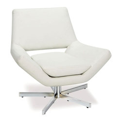Office Star - Yield Contemporary Star-Base Accent Chair in - Angular design elements and a crisp white vinyl upholstery gives this accent chair a modern, futuristic look that will be a spirited addition to your home's decor. It has a five-star metal base and features foam filled seat and back cushions for added comfort. White vinyl. Extra wide five star base. Foam-Filled back and seat cushions. Protective floor glides. Some assembly required. 27.75 in. W x 31.75 in. L x 28.87 in. H