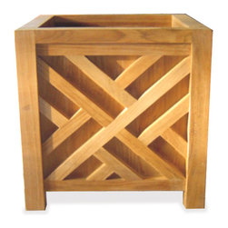 Thos. Baker - Teak Chippendale Planter From The Bainbridge Collection - These fine teak accent pieces from the bainbridge collection boast a rich, natural look while solving storage and seating needs outdoors and in. Ideal for poolside accents, outdoor living accessories or turning your master bath into a relaxing home spa. Made from premium teak timber, fairly harvested from plantation grown trees over 40 years old.