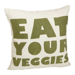 alexandra ferguson - Eat Your Veggies Pillow By Alexandra Ferguson - 16X16, Moss, Cream Canvas - Organize your stuff with this colorful fun accessory case! The perfect size to carry your toiletries, craft supplies or even your lunch when you are on the go. Made from 100% organic cotton canvas. Our signature 100% recycled felt is used for the letters handsewn on the front, as well as a protective re-inforced base panel.