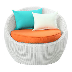 Modway - Luna Patio Chair in White Multi Color - Be uplifted while ensconced in leisurely stillness. Calm the mind, and center your energy, with an outdoor rattan chair full of endless circular movement. Newfound direction will emerge as activity springs into being once again, with a piece that conveys the pleasures of simple modernity. Luna's sweeping surround design, and comfortable 4in.  all-weather cushion seating, provide the perfect getaway from the everyday in order to refocus into the everything.