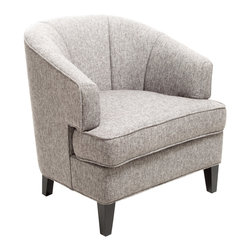 Great Deal Furniture - Camden Grey Fabric Club Chair - The Camden Club Chair is the perfect piece for any room in your home. With its rounded tub backrest design and streamline stitching detailing, this chair is both stylish and comfortable. Add this chair to your home decor as an accent piece and allow the modern lines to complete any look you have in mind.