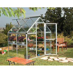 Poly-Tex, Inc. - Harmony 6' x 4' Hobby Greenhouse - Silver - The Harmony silver 6' x 4' hobby greenhouse features a rust-resistant, brushed aluminum frame and heavy-duty galvanized steel base designed to stand the test of time. Your plants will love the sun light from the clear, polycarbonate panels. Keep your plants happy with the fresh rainwater you collect from the gutters. Start your plants early from seed and extend your season by protecting plants from fall frosts. Get growing today and let the Harmony greenhouse help you bring your green dreams to life.