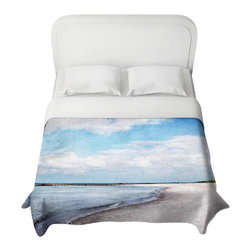 DiaNoche Designs - Duvet Cover - Blue White Skies - Lightweight and super soft brushed twill Duvet Cover sizes Twin, Queen, King.  Cotton Poly blend.  Ties in each corner to secure insert. Blanket insert or comforter slides comfortably into Duvet cover with zipper closure to hold blanket inside.  Blanket not Included. Dye Sublimation printing adheres the ink to the material for long life and durability. Printed top, khaki colored bottom, Machine Washable, Product may vary slightly from image.