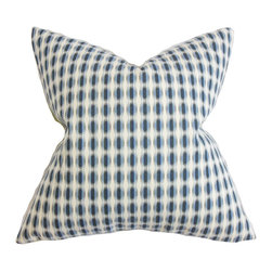 """The Pillow Collection - Italo Geometric Pillow Blue 18"""" x 18"""" - This toss pillow is an essential item for your styling needs. It brings texture and color to your interiors with its geometric pattern and bold hues. A mix of blue shades and white background is featured on this square pillow. At 18 inches, this throw pillow is perfectly sized for the bed, sofa and other furniture. Crafted with 100% high-quality cotton fabric. Hidden zipper closure for easy cover removal.  Knife edge finish on all four sides.  Reversible pillow with the same fabric on the back side.  Spot cleaning suggested."""