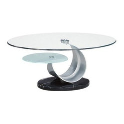 Global Furniture Oval Metal and Marble Coffee Table with Clear Glass Top