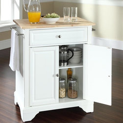 Crosley Furniture - LaFayette Natural Wood Top Portable Kitchen I - LaFayette Collection. 1 Adjustable shelf. 1 Drawer. 2 Beautiful raised panel doors. 2 Towel Bars. Wood top with Natural finish. Solid hardwood and veneer construction. Hand rubbed multi-step finish. Brushed Nickel hardware. Assembly required. 1-Year manufacturer's warranty. 28.25 in. L x 18 in. W x 36 in. H (82.2 lbs.)