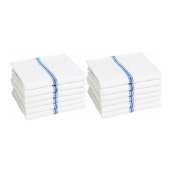 Keeble Outlets™ - Vintage Kitchen Dish Towels , White with Royal Blue Stripe, 100% Cotton - Designed for Professional Kitchens: Now for the First Time Available to Every Kitchen in the United States.