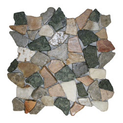 "CNK Tile - Glazed Autumn Mosaic Tile - Each pebble is carefully selected and hand-sorted according to color, size and shape in order to ensure the highest quality pebble tile available.  The stones are attached to a sturdy mesh backing using non-toxic, environmentally safe glue.  Because of the unique pattern in which our tile is created they fit together seamlessly when installed so you can't tell where one tile ends and the next begins!     Usage:    Shower floor, bathroom floor, general flooring, backsplashes, swimming pools, patios, fireplaces and more.  Interior & exterior. Commercial & residential.     Details:    Sheet Backing: Mesh   Sheet Dimensions: 12"" x 12""   Pebble size: Approx 3/4"" to 2 1/2""   Thickness: Approx 3/8""   Finish: Glazed Autumn"