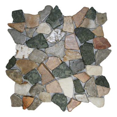 """CNK Tile - Glazed Autumn Mosaic Tile - Each pebble is carefully selected and hand-sorted according to color, size and shape in order to ensure the highest quality pebble tile available.  The stones are attached to a sturdy mesh backing using non-toxic, environmentally safe glue.  Because of the unique pattern in which our tile is created they fit together seamlessly when installed so you can't tell where one tile ends and the next begins!     Usage:    Shower floor, bathroom floor, general flooring, backsplashes, swimming pools, patios, fireplaces and more.  Interior & exterior. Commercial & residential.     Details:    Sheet Backing: Mesh   Sheet Dimensions: 12"""" x 12""""   Pebble size: Approx 3/4"""" to 2 1/2""""   Thickness: Approx 3/8""""   Finish: Glazed Autumn"""