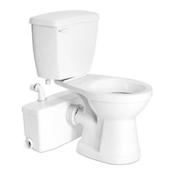 "Saniflo - Saniflo 002-003-005 Two Piece Round Bowl Toilet with Macerating Pump White - The Saniplus is a system that is used to install a complete bathroom up to 15 feet below the sewer line, or even up to 150 feet away from a soil stack.  It can handle the effluent from a toilet, sink, bathtub and shower.The Saniplus is simplicity itself to install; there are just four connections.    - The macerator/pump is connected to the spigot of a horizontal rear discharge toilet.    - The toilet tank is connected to the water supply.    - The macerator/pump is connected to the small diameter discharge pipe work.    - The macerator/pump is connected to the electrical supply.The inside of the Saniplus comprises of a pressure chamber, which starts and stops the unit, and the motor, which drives the stainless steel macerator blades and the pump.When the flush is activated, the water flowing into the Saniplus activates a micro switch in the pressure chamber, which in turn starts the motor.  The motor is sealed for life in an oil filled enclosure.  A common spindle/shaft drives the impeller and the macerator blades.  The moving parts therefore are kept to an absolute minimum.  Water and organic waste matter enter the chamber and are reduced to slurry as the macerator blades rotate at 3600 RPM.  The centrifugal force causes the reduced solids to be ejected through a grill into the container where it is picked up by the impeller pump mounted beneath the motor.  The unit pumps the effluent upward to 15 feet and/or 150 feet horizontally (with gravity fall).  Once the water level in the container goes down, the micro switch deactivates the unit until the flush is activated again.  A normal operating cycle for Saniplus takes about 10 - 15 seconds depending upon the discharge pipe run configuration; power consumption is therefore minimal. In addition to the toilet waste, the Saniplus will also discharge gray water from a variety of other sanitary fixtures such as: a sink, a bathtub, a shower and a urinal.  When adding a bathtub or shower, a base will have to be constructed.  This base should be made out of a 2"" x 6"" (minimum) or 2"" x 8"" (recommended) on edge, to allow for the installation of a P-trap and the required 1/4""per foot gravity flow towards the pump unit. The wastewater from other sanitary fixtures is discharged into the Saniplus via two 2-inch inlets on either side of the housing.  Either one or both inlets can be used as required.  The discharge elbow on top of the Saniplus can be turned either to the left, to the right, or towards the back, depending on the discharge installation.  A non-return valve, which comes already assembled on the discharge elbow, prevents back flow into the unit. This unit has been designed with a vent connection on the lid.  All plumbing codes require connection to a vent system.  Please note that the vent system should be a two-way air vent.  The use of mechanical vents, air admittance valves or similar devices are not permitted as these are considered one-way air vent systems.  It is also highly recommended for the macerator/pump to be connected to a Ground Fault Interrupter (GFI) circuit.The design of this model consists of vibration absorbers which enable the reduction of operating sound by reducing the transmitted sounds from any location where such resonance transmission could occur.  This new design reduces the operating sound of this pump by 10dB.The Saniplus unit must be connected to our rear discharge toilet.  This system uses much less water than a regular toilet.  Note: This toilet only works in combination with Saniflo systems.The Saniplus has been certified to American and Canadian Standards.  Macerating standard; US: CSA Certified & IAPMO (UPC) listed - ASME A112.3.4, CA: Macerating Standard CSA B45.9. All items may be purchased separately.  However, the Saniplus works as a system and therefore a toilet bowl (003 or 007), toilet tank (005) and the macerating unit (002) need to be purchased.  An optional extension pipe (030) is available for the pump to be installed behind the wall.  No toilet seat, cabinets, shower nor bathtub are included."