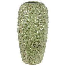 Paintings Large Woven Green Ceramic Vase