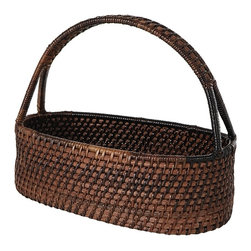 Eco Displayware - Oval Rattan Basket in Espresso - Great for closet, bath, pantry, office or toy and game storage. Earth friendly. 11 in. L x 6.5 in. W x 10 in. H (2.6 lbs.)These natural colored baskets add warmth and charm and keep you organized.