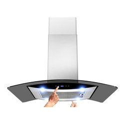 """AKDY - AKDY AK-ZH603B Euro Stainless Steel Island Mount Range Hood, 36"""" - An upgraded version of 688ICS14, equipped with smoked glass and double-sided sliding control panel. The new H603B island range hoods are designed in Spain with quality construction and stunning style. This 30"""" wide range hood with a 870 CFM blower. Constructed entirely from stainless steel, it features an adjustable chimney and aluminum cassette filters with a wide filtration area. The 3-speed fan is operated with an intuitive digital controls. Four 2W LED light bulbs are pre-installed, offering an elegant illumination of your cooktop or range. The 688iCS14 is designed for ducted use, but may be converted to a ductless (recirculating) range hood when you order an optional charcoal filter set."""