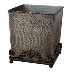 GG Collection - The GG Collection Hammered Wastebasket Antique Silver - The GG Collection Hammered Wastebasket Antique Silver