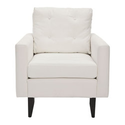 Safavieh - Sabrina Club Chair - Mid-century style meets contemporary comforts in the sophisticated Sabrina club chair. Its plump seat back (with four button tufts) and ample bottom are paired with natural white cotton fabric and java-finished beech wood legs to enhance its welcoming appeal. The Sabrina club chair will complement soft contemporary and transitional rooms.