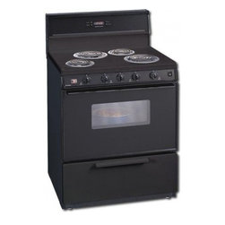 """Premier - EDK340B 30"""" Freestanding Electric Range with 4 Coil Elements  3.9 cu. ft. Oven C - The EDK340 30 freestanding electric range comes with an oven capacity of 39 cu ft The two 8 element and two 6 element allows you to use two different sizes of cookware"""