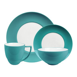 Waechtersbach - Uno 4pc Place Setting, UNO Azur - Add a pop of color to your table with this festive porcelain dinnerware. The place setting includes a dinner plate, salad plate, bowl and mug. The pieces are dishwasher safe, and mix easily with other patterns and colors for a casual, collected feel.