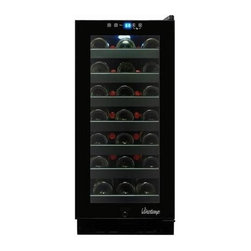 Vinotemp - Butler Touch Screen Wine Cooler - Freestanding cabinet. Black color. Fits 33 bottles. Includes cooler door lock. 14.75 in. W x 22.5 in. D x 33.13 in. H (79 lbs.). Butler collection. Lead time: 3 to 5 days. Control panel security lock eliminates unwanted temperature changes. Six full size shelves and one half size shelf. Dual-paned glass door. Blue LED light. Digital temperature display. Recessed handle. Temperature range: 40°-72°F. Warranty. Owner's manualThis sleek, all black 33 Bottle Touch Screen Wine Cooler will bring a touch of sophistication to your home.