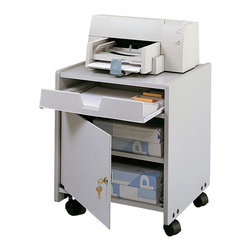Safco - Safco Machine Floor Stand in Gray - Safco - Printer Stands - 1854GR - This mobile office machine/supply cart is ideal for office equipment and more. Lightweight yet durable with a gray laminate finish this wheeled office stand features an accessory drawer and single door utility cabinet. Swivel wheel casters offer freedom of movement and include a locking function for location stability when required.
