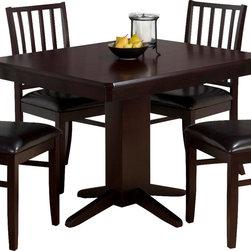 Jofran - Jofran Aspen Merlot Rectangle Pedestal Dining Table with Clipped Corners - Birch veneer and solid Asian hardwood.