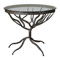 Uttermost - Esher Accent Table - Heavy metal never looked this good! Delicate twigs form the hand-forged bronze metal base and legs of this glass topped accent table. Even if space is limited in your home, the wispy see-through appeal gives this piece a very small footprint.