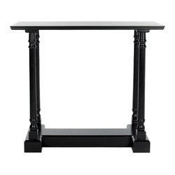 Safavieh - Regan Console Table - Distressed Black - Add architectural interest to any space with the Reagan console table��_s slim proportions, structured base and gracefully turned baluster columns. Crafted of pine wood in a distressed black finish, this elegant accent piece is the perfect foundation for elegant displays of personal treasures.